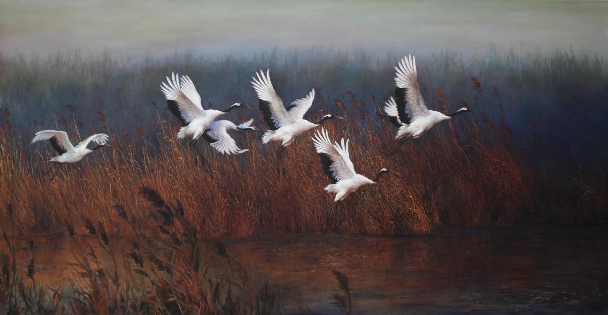 Flying out of the Red Marshes  | Wallhanging by Dongguang Zhang | Artists for Conservation 2018