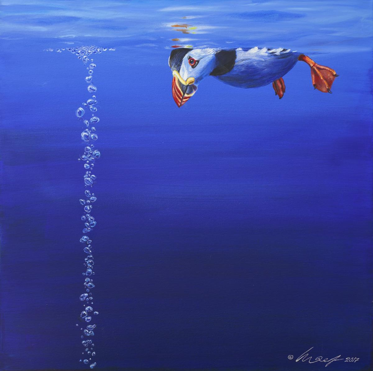 Puffin   Wallhanging by Harro Maass   Artists for Conservation 2018