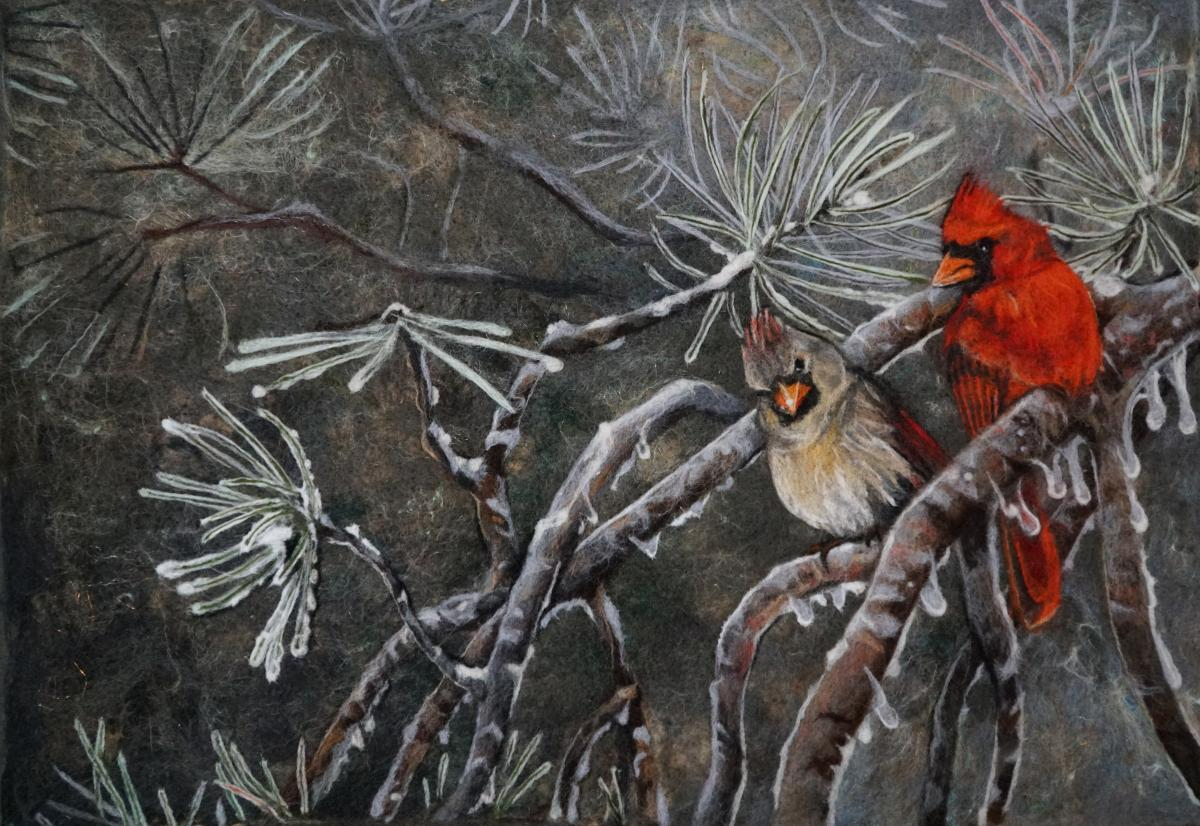 Cardinals and Ice | Wallhanging by Sara Desjardins | Artists for Conservation 2018