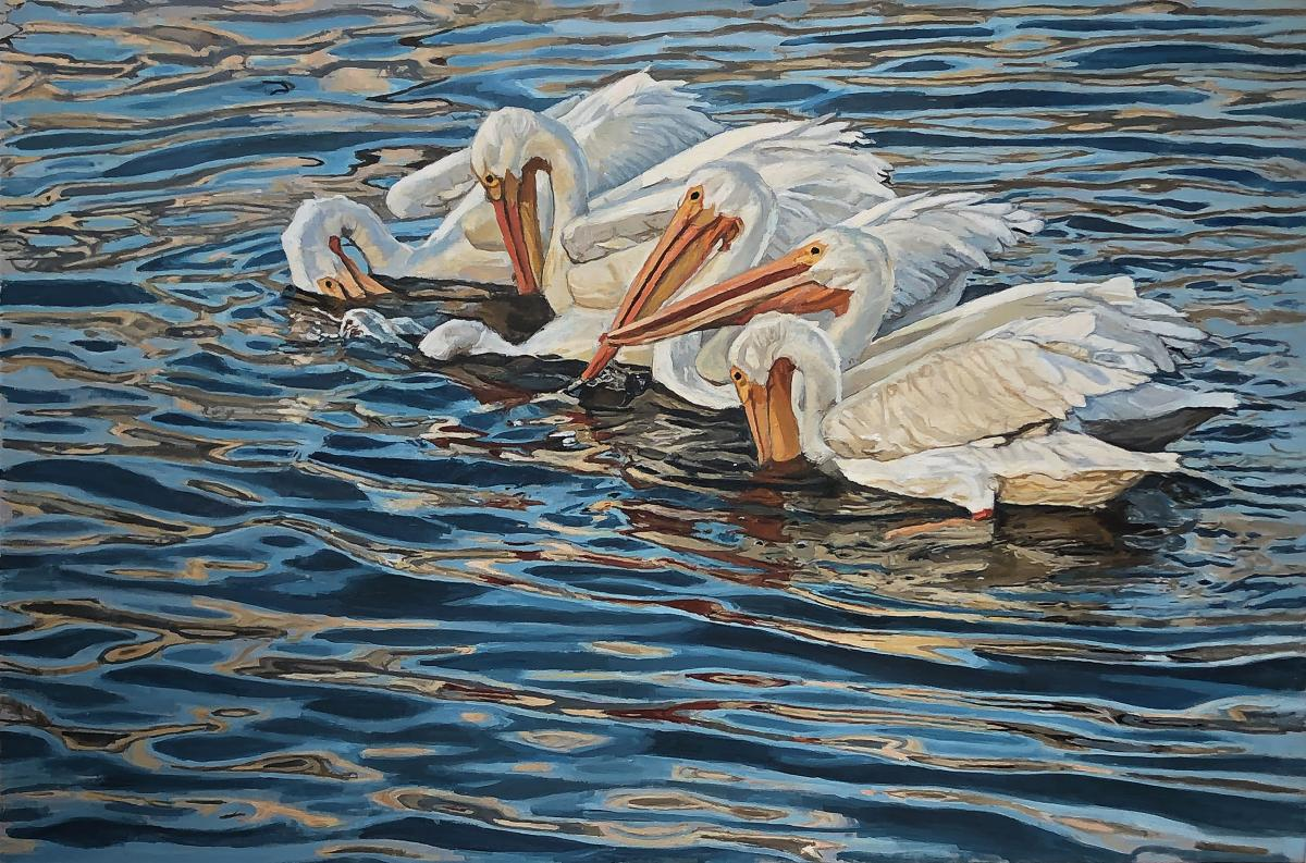 Six White Pelicans in Sanibel | Wallhanging by Mary Louise O'Sullivan | Artists for Conservation 2019