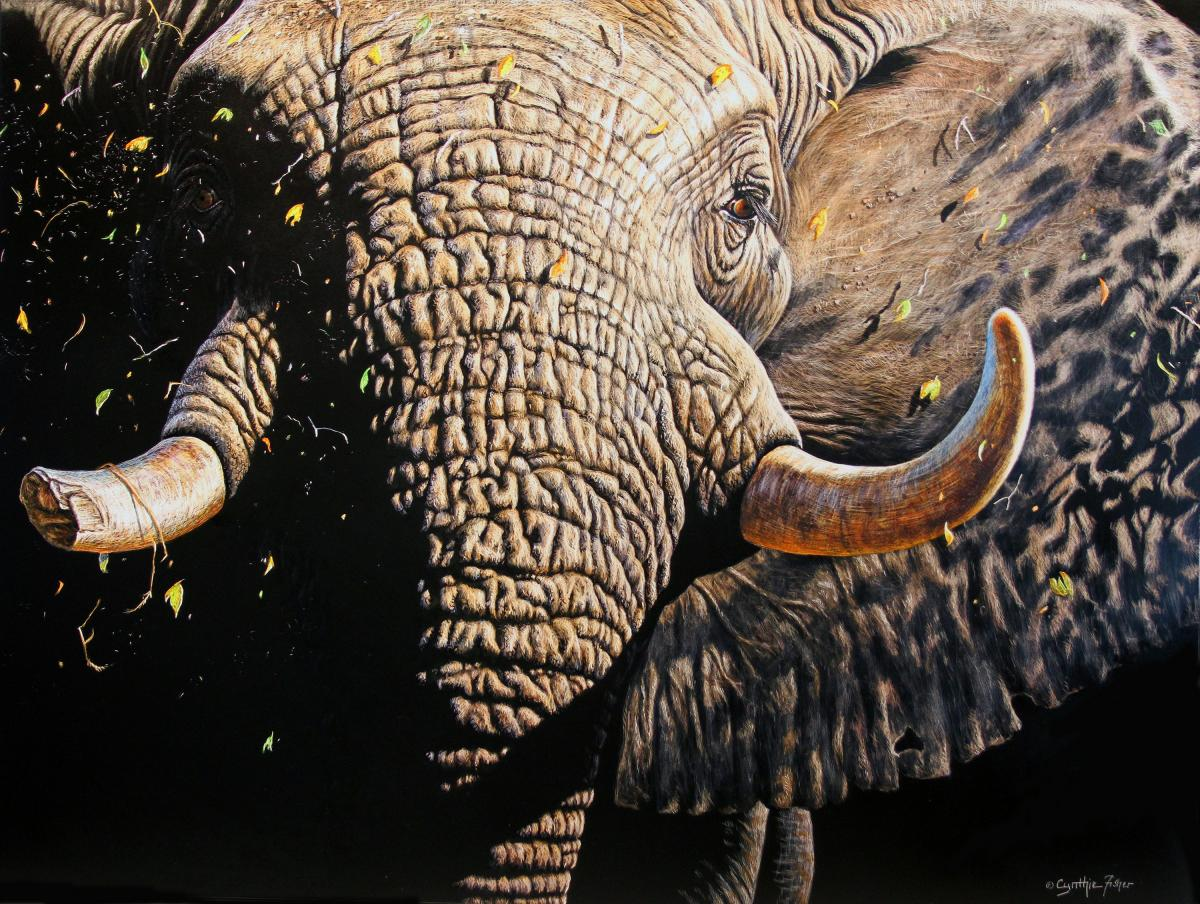 Confrontation | Wallhanging by Cynthie Fisher | Artists for Conservation 2020