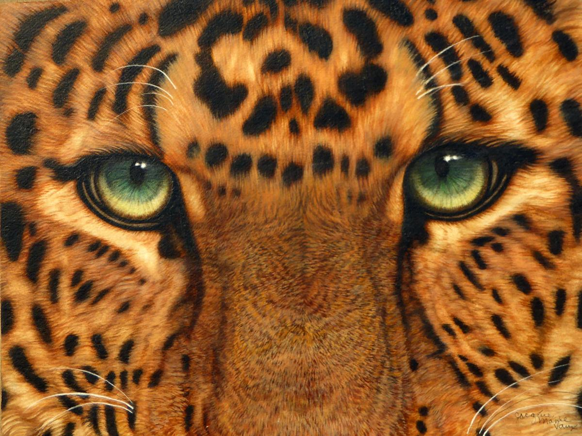 Eyes of a Persian Leopard | Wallhanging by Jacquie Vaux | Artists for Conservation 2020