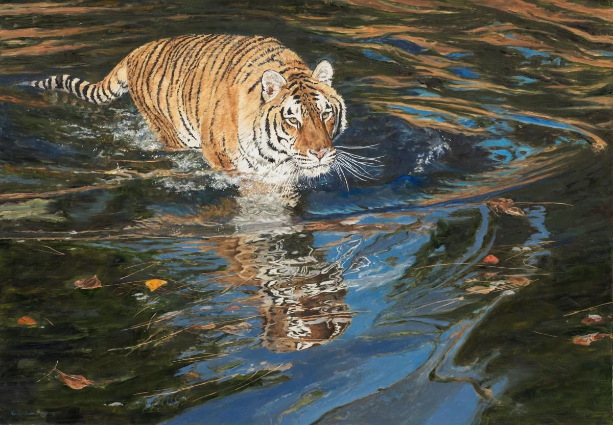 Stealth - Amur Tiger | Wallhanging by Linda Besse | Artists for Conservation 2020