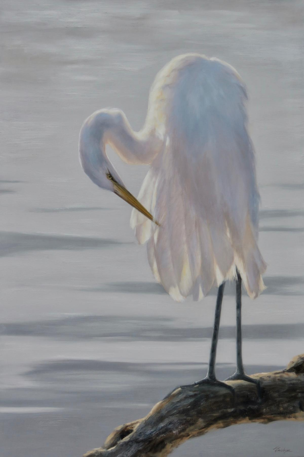 Morning Sacrament - White Egret | Wallhanging by Mary Erickson | Artists for Conservation 2020
