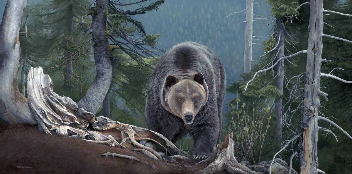 A Grizzly Encounter | Wallhanging by Laura Levitsky | Artists for Conservation 2020