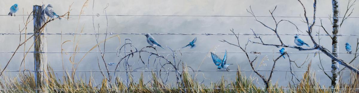 Bluebirds Sing Vivaldi in Spring | Wallhanging by Emily Lozeron | Artists for Conservation 2020