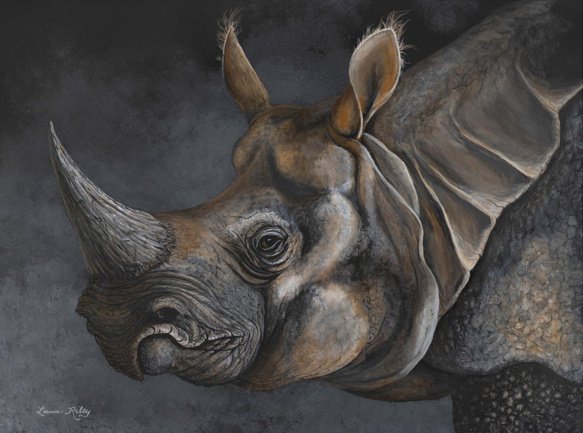 Indian Rhinoceros | Wallhanging by Laurie Riley | Artists for Conservation 2021