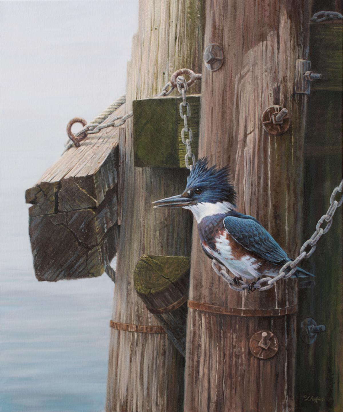 """Hanging Out """"Belted Kingfisher""""   Wallhanging by Luke Raffin   Artists for Conservation 2021"""