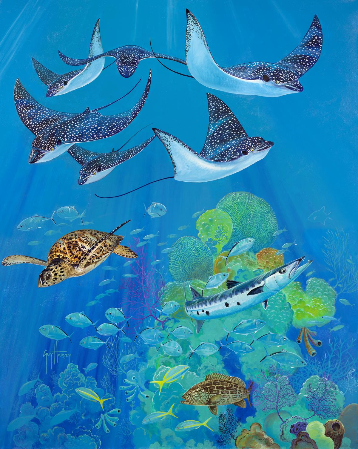 Eagle Ray Pass | Wallhanging by Guy Harvey | Artists for Conservation 2021