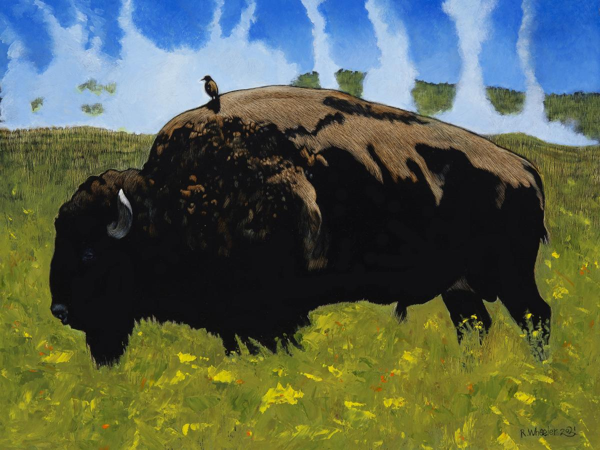 Bullrider (Yellowstone Bison)   Wallhanging by Rick Wheeler   Artists for Conservation 2021