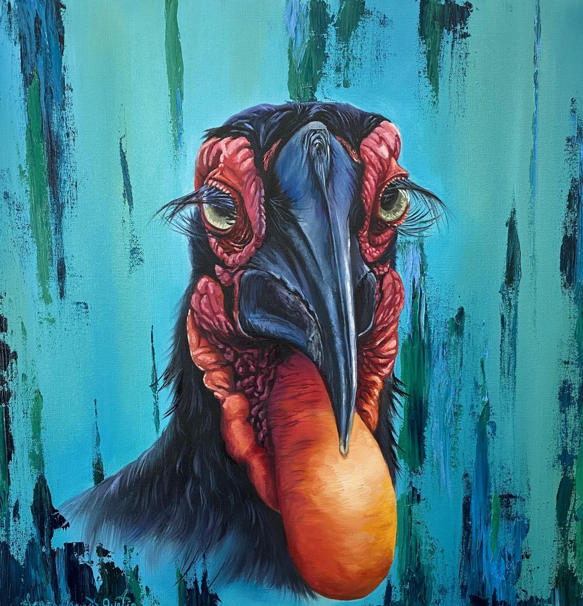 Contemporary Southern Ground Hornbill  | Wallhanging by Suzanne Barrett Justis | Artists for Conservation 2021