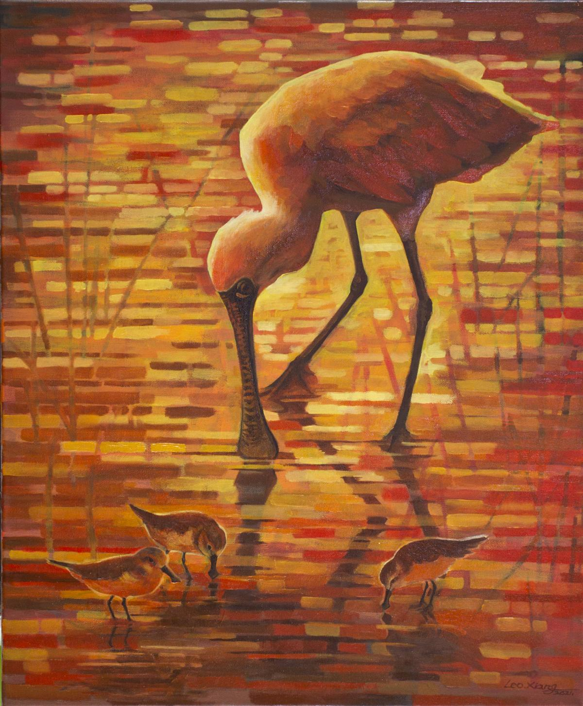 Golden Pool   Wallhanging by Leo Xiang   Artists for Conservation 2021