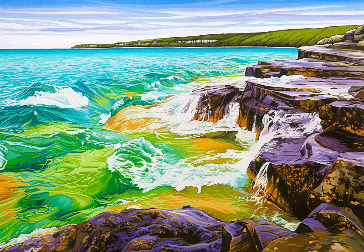 Rocky Shoreline Bruce Peninsula   Wallhanging by Margarethe Vanderpas   Artists for Conservation 2021