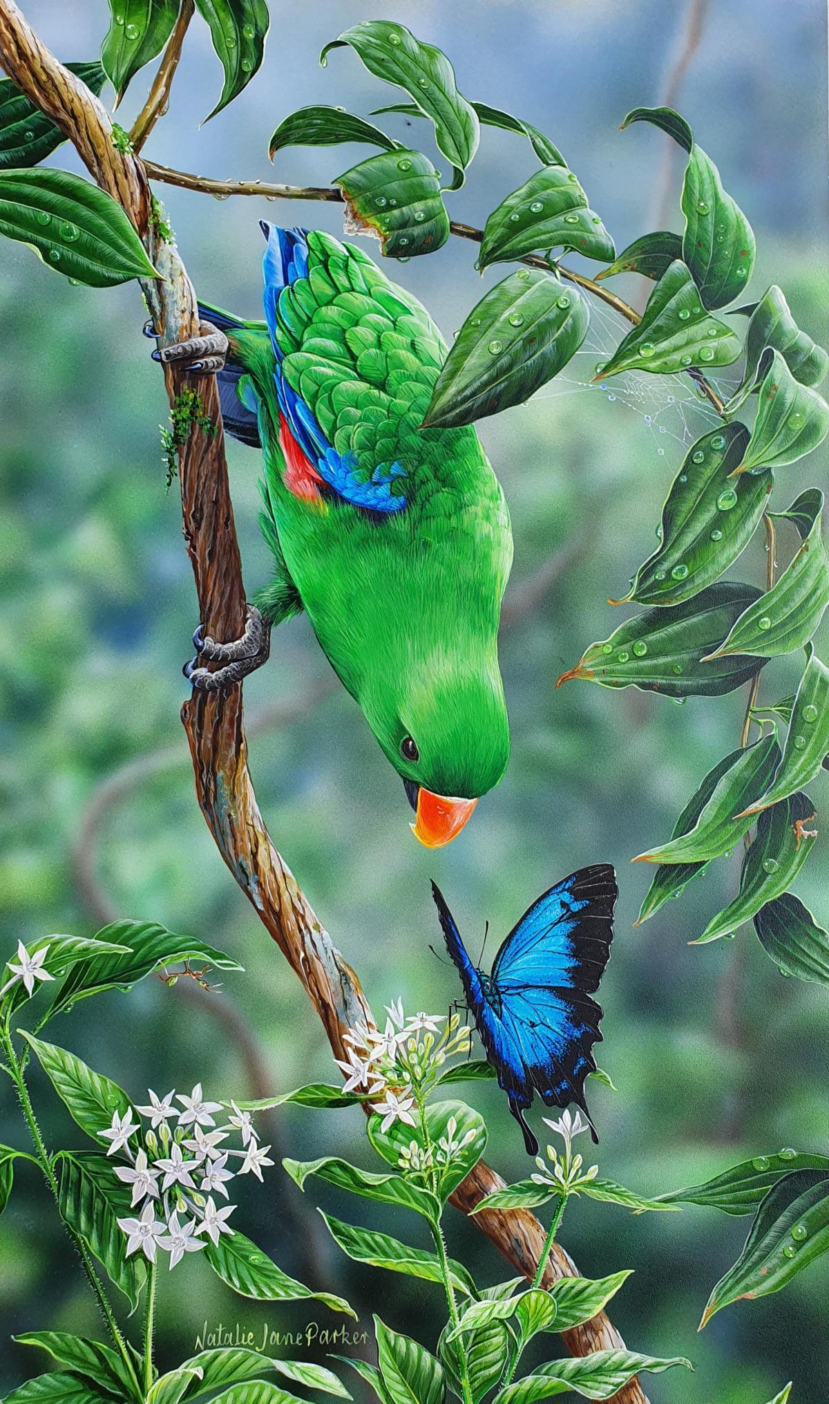 Tropical Encounter    Wallhanging by Natalie Parker   Artists for Conservation 2021