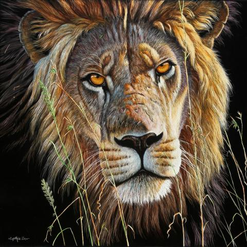Golden Gaze   Wallhanging by Cynthie Fisher   Artists for Conservation 2020