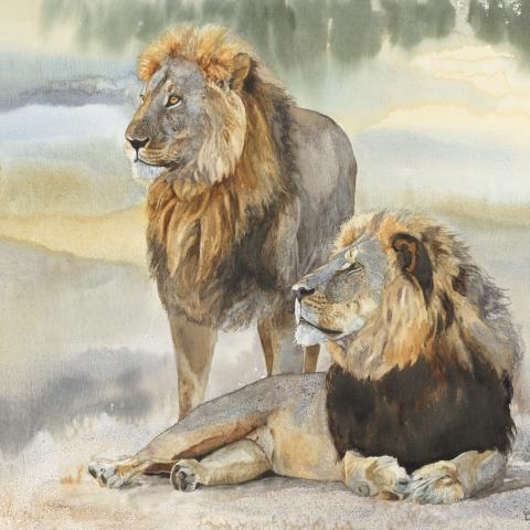 Cecil and Jericho   Wallhanging by Linda DuPuis-Rosen   Artists for Conservation 2020