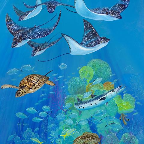 Eagle Ray Pass   Wallhanging by Guy Harvey   Artists for Conservation 2021
