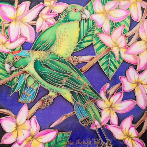 Green Racquet-tail, Green Racket-tail, Green-headed Racket-tailed Parrot, Green-crowned Racket-tailed Parrot by AFC