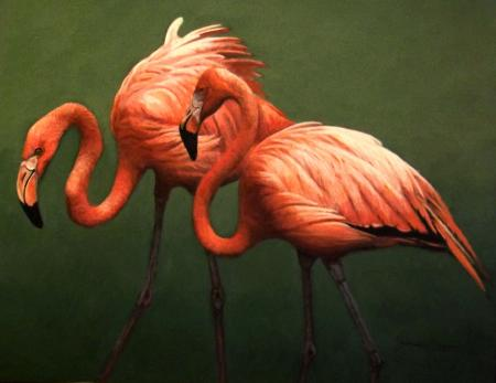 Flamingo Fandango | Wallhanging by James Kiesow | Artists for Conservation 2020