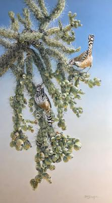 Sonoran Shade: Hanging Chain Cholla and Cactus Wren | Wallhanging by Sharon K. Schafer | Artists for Conservation 2021