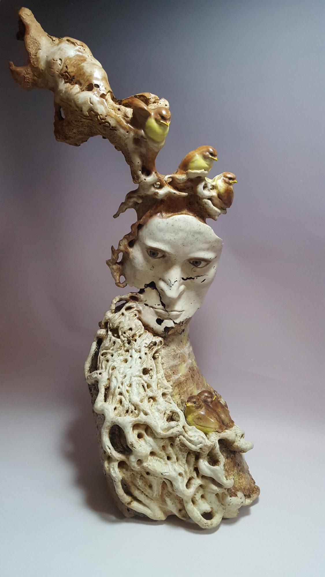 """Abstract Study """"Man and Bird""""   Sculpture by Lynn Branson   Artists for Conservation 2020"""
