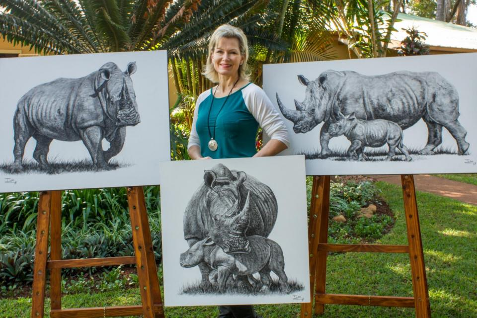 <em>Edit Conservation Project/Cause</em> Protecting the rhinos in Limpopo - Three paintings to raise funds | Ilse de Villiers