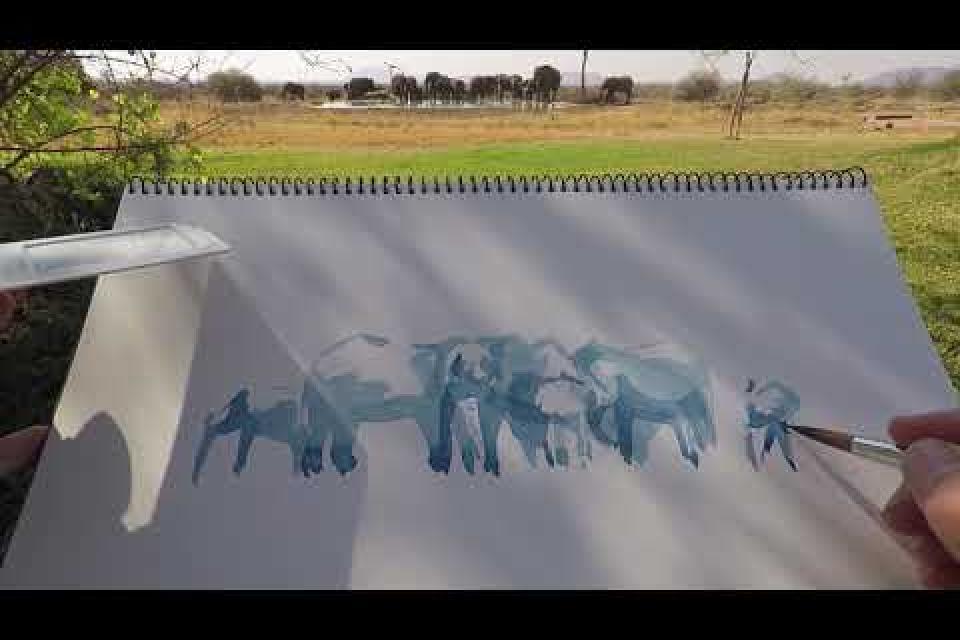 Elephants at Water Alison Nicholls