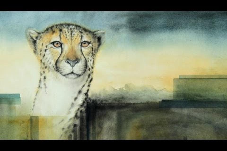 Watercolor painting animals (Cheetah)