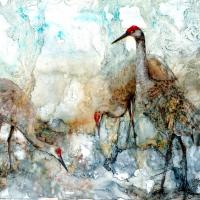 Crane Trio | Wallhanging by Katherine Weber | Artists for Conservation 2018