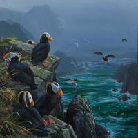 Tufted Puffins: Arrivals Lounge, Coronation Island, Alaska | Wallhanging by Mark Hobson | Artists for Conservation 2018