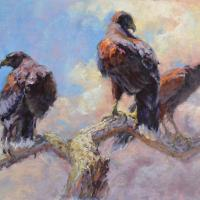 Raptor Team, Harris Hawk | Wallhanging by Sharon Bamber | Artists for Conservation 2018