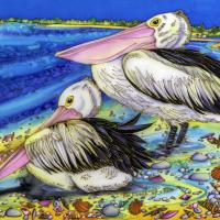 Perfect Pelican Pair | Wallhanging by Kim Toft | Artists for Conservation 2018