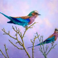 Lilac-breasted Roller Birds | Wallhanging by Patricia Banks | Artists for Conservation 2018