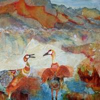 Crane Dance | Wallhanging by Pamela Haunschild | Artists for Conservation 2020