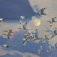 Ibis Flying Under the Moon   Wallhanging by Mary Louise O'Sullivan   Artists for Conservation 2020
