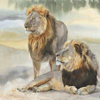 Cecil and Jericho | Wallhanging by Linda DuPuis-Rosen | Artists for Conservation 2020