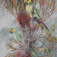 Yellow-eared Parrots | Wallhanging by Daniel Davis | Artists for Conservation 2020