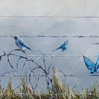 Bluebirds Sing Vivaldi in Spring   Wallhanging by Emily Lozeron   Artists for Conservation 2020