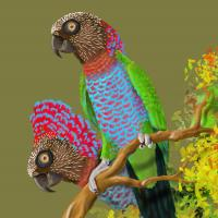 Tree-top drama: Red-fan Parrots | Wallhanging by Pat Latas | Artists for Conservation 2021