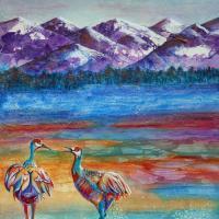 Crane Dance II   Wallhanging by Pamela Haunschild   Artists for Conservation 2021