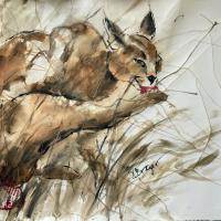 Caracal After Lunch   Wallhanging by Varda Breger   Artists for Conservation 2021