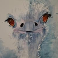 The Blue Ostrich  | Wallhanging by Lettie Neuhauser-MacLachlan | Artists for Conservation 2021