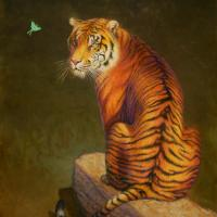 Study, The Tiger and the Luna Moth   Wallhanging by Randall Bennett   Artists for Conservation 2021