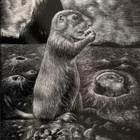 The Sentinels of Devils Tower - Prairie Dogs and Peanuts | Wallhanging by Krish Krishnan | Artists for Conservation 2021