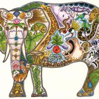 Elephant Mabula   Wallhanging by Sue Coccia   Artists for Conservation 2021