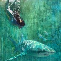 """""""Freediver with Lemon Shark""""   Wallhanging by Nansi Bielanski   Artists for Conservation 2021"""