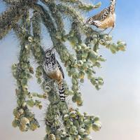 Sonoran Shade: Hanging Chain Cholla and Cactus Wren   Wallhanging by Sharon K. Schafer   Artists for Conservation 2021