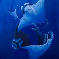 Kona Mantas   Wallhanging by Frank Walsh   Artists for Conservation 2021