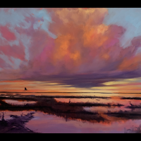 Rising Sun, Falling Tide, Copano Bay | Wallhanging by Jeffrey McDaniel | Artists for Conservation 2021